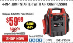 Harbor Freight Coupon 4-IN-1 JUMP STARTER WITH AIR COMPRESSOR Lot No. 60666/69401/62374/62453 Expired: 4/30/19 - $59.99