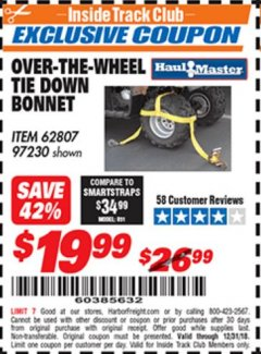 Harbor Freight ITC Coupon OVER-THE-WHEEL TIE DOWN BONNET Lot No. 62807 Expired: 12/31/18 - $19.99