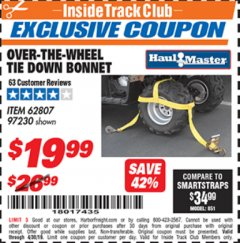 Harbor Freight ITC Coupon OVER-THE-WHEEL TIE DOWN BONNET Lot No. 62807 Expired: 4/30/19 - $19.99