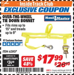 Harbor Freight ITC Coupon OVER-THE-WHEEL TIE DOWN BONNET Lot No. 62807 Expired: 12/31/19 - $17.99