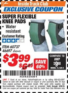 Harbor Freight ITC Coupon SUPER FLEXIBLE KNEE PADS Lot No. 46697/60737 Expired: 6/30/18 - $3.99