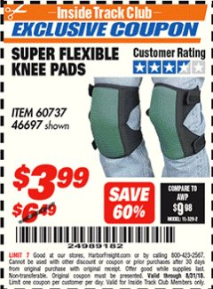 Harbor Freight ITC Coupon SUPER FLEXIBLE KNEE PADS Lot No. 46697/60737 Expired: 8/31/18 - $3.99
