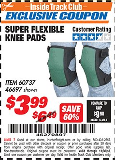 Harbor Freight ITC Coupon SUPER FLEXIBLE KNEE PADS Lot No. 46697/60737 Expired: 11/30/18 - $3.99