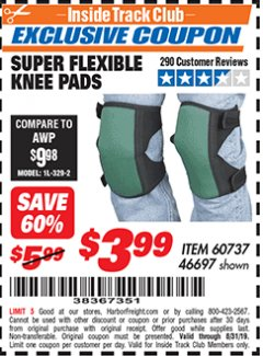 Harbor Freight ITC Coupon SUPER FLEXIBLE KNEE PADS Lot No. 46697/60737 Expired: 8/31/19 - $3.99