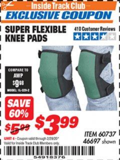Harbor Freight ITC Coupon SUPER FLEXIBLE KNEE PADS Lot No. 46697/60737 Expired: 2/29/20 - $3.99