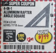 Harbor Freight Coupon 4-IN-1 ALUMINUM RAFTER ANGLE SQUARE Lot No. 7718/63140/63185 Expired: 10/31/18 - $1.99