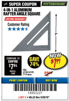 Harbor Freight Coupon 4-IN-1 ALUMINUM RAFTER ANGLE SQUARE Lot No. 7718/63140/63185 Expired: 9/30/18 - $1.99