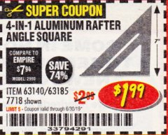Harbor Freight Coupon 4-IN-1 ALUMINUM RAFTER ANGLE SQUARE Lot No. 7718/63140/63185 Expired: 6/17/19 - $1.99
