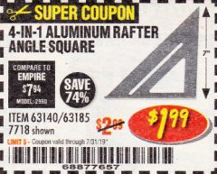 Harbor Freight Coupon 4-IN-1 ALUMINUM RAFTER ANGLE SQUARE Lot No. 7718/63140/63185 Expired: 7/31/19 - $1.99