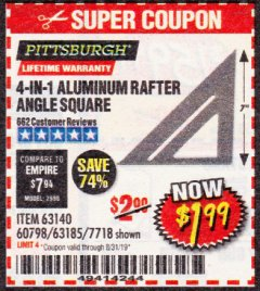 Harbor Freight Coupon 4-IN-1 ALUMINUM RAFTER ANGLE SQUARE Lot No. 7718/63140/63185 Valid Thru: 8/31/19 - $1.99