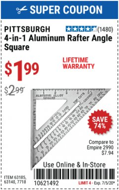 Harbor Freight Coupon 4-IN-1 ALUMINUM RAFTER ANGLE SQUARE Lot No. 7718/63140/63185 EXPIRES: 7/5/20 - $1.99