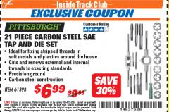 Harbor Freight ITC Coupon 21 PIECE CARBON STEEL SAE TAP AND DIE SET Lot No. 61398/69679 Expired: 5/31/18 - $6.99