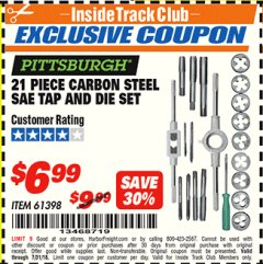 Harbor Freight ITC Coupon 21 PIECE CARBON STEEL SAE TAP AND DIE SET Lot No. 61398/69679 Expired: 7/31/18 - $6.99