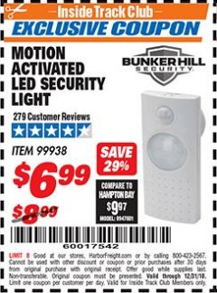 Harbor Freight ITC Coupon MOTION ACTIVATED LED SECURITY LIGHT Lot No. 99938 Expired: 12/31/18 - $6.99