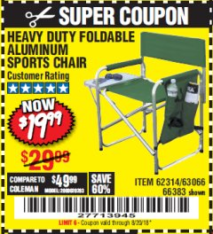 Harbor Freight Coupon FOLDABLE ALUMINUM SPORTS CHAIR Lot No. 66383/62314/63066 Expired: 8/20/18 - $19.99