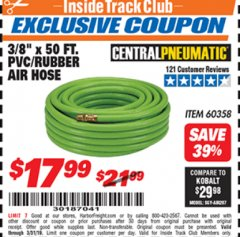 "Harbor Freight ITC Coupon 3/8"" x 50 FT. PVC/RUBBER AIR HOSE Lot No. 60358/62256 Expired: 3/31/19 - $17.99"