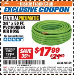 "Harbor Freight ITC Coupon 3/8"" x 50 FT. PVC/RUBBER AIR HOSE Lot No. 60358/62256 Dates Valid: 5/3/19 - 5/31/19 - $17.99"