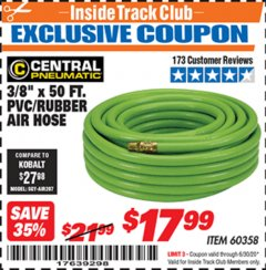 "Harbor Freight ITC Coupon 3/8"" x 50 FT. PVC/RUBBER AIR HOSE Lot No. 60358/62256 Expired: 6/30/20 - $17.99"