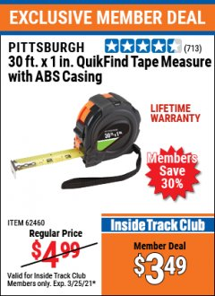 "Harbor Freight ITC Coupon 1"" x 30 FT. QUICKFIND TAPE MEASURE WITH ABS CASING Lot No. 62460/69081 Expired: 3/25/21 - $3.49"