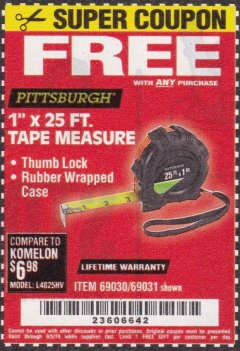 "Harbor Freight FREE Coupon 1"" X 25 FT. TAPE MEASURE Lot No. 69080/69030/69031 Expired: 9/5/19 - FWP"