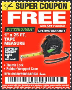 "Harbor Freight FREE Coupon 1"" X 25 FT. TAPE MEASURE Lot No. 69080/69030/69031 Valid Thru: 1/31/20 - FWP"