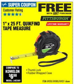 "Harbor Freight FREE Coupon 1"" X 25 FT. TAPE MEASURE Lot No. 69080/69030/69031 Expired: 10/4/19 - FWP"