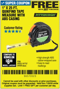 "Harbor Freight FREE Coupon 1"" X 25 FT. TAPE MEASURE Lot No. 69080/69030/69031 Valid Thru: 1/20/20 - FWP"