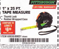 "Harbor Freight FREE Coupon 1"" X 25 FT. TAPE MEASURE Lot No. 69080/69030/69031 Expired: 1/20/18 - FWP"