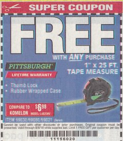 "Harbor Freight FREE Coupon 1"" X 25 FT. TAPE MEASURE Lot No. 69080/69030/69031 Expired: 8/8/18 - FWP"