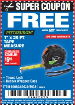 "Harbor Freight FREE Coupon 1"" X 25 FT. TAPE MEASURE Lot No. 69080/69030/69031 Expired: 10/15/18 - FWP"
