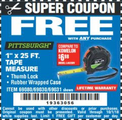 "Harbor Freight FREE Coupon 1"" X 25 FT. TAPE MEASURE Lot No. 69080/69030/69031 Expired: 10/1/18 - FWP"