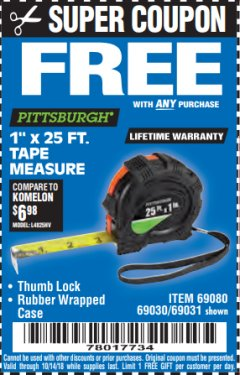 "Harbor Freight FREE Coupon 1"" X 25 FT. TAPE MEASURE Lot No. 69080/69030/69031 Expired: 10/14/18 - FWP"