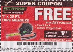"Harbor Freight FREE Coupon 1"" X 25 FT. TAPE MEASURE Lot No. 69080/69030/69031 Expired: 10/24/18 - FWP"