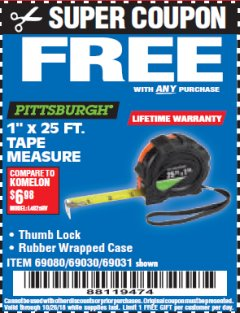 "Harbor Freight FREE Coupon 1"" X 25 FT. TAPE MEASURE Lot No. 69080/69030/69031 Expired: 10/26/18 - FWP"