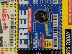"Harbor Freight FREE Coupon 1"" X 25 FT. TAPE MEASURE Lot No. 69080/69030/69031 Expired: 1/31/19 - FWP"