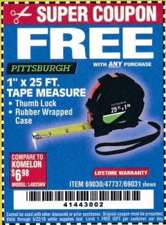 "Harbor Freight FREE Coupon 1"" X 25 FT. TAPE MEASURE Lot No. 69080/69030/69031 Expired: 5/22/19 - FWP"