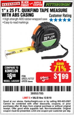 "Harbor Freight Coupon 1"" X 25 FT. TAPE MEASURE Lot No. 69080/69030/69031 Expired: 12/8/19 - $1.99"