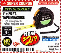 "Harbor Freight Coupon 1"" X 25 FT. TAPE MEASURE Lot No. 69080/69030/69031 Expired: 3/31/20 - $2.19"