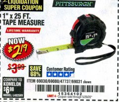 "Harbor Freight Coupon 1"" X 25 FT. TAPE MEASURE Lot No. 69080/69030/69031 Valid Thru: 5/29/20 - $2.19"