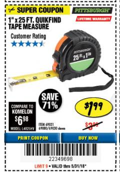 "Harbor Freight Coupon 1"" X 25 FT. TAPE MEASURE Lot No. 69080/69030/69031 Expired: 5/31/18 - $1.99"