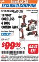 Harbor Freight ITC Coupon 18 VOLT CORDLESS 4 TOOL COMBO PACK Lot No. 68857 Expired: 7/31/16 - $99.99