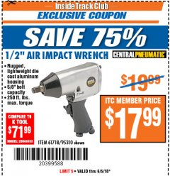 "Harbor Freight ITC Coupon 1/2"" AIR IMPACT WRENCH Lot No. 60382/61718/95310 Expired: 6/5/18 - $17.99"