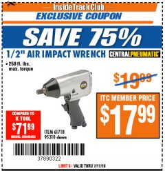 "Harbor Freight ITC Coupon 1/2"" AIR IMPACT WRENCH Lot No. 60382/61718/95310 Expired: 7/17/18 - $17.99"