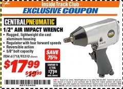 "Harbor Freight ITC Coupon 1/2"" AIR IMPACT WRENCH Lot No. 60382/61718/95310 Expired: 8/31/18 - $17.99"