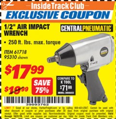 "Harbor Freight ITC Coupon 1/2"" AIR IMPACT WRENCH Lot No. 60382/61718/95310 Expired: 10/31/18 - $17.99"
