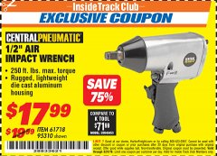 "Harbor Freight ITC Coupon 1/2"" AIR IMPACT WRENCH Lot No. 60382/61718/95310 Expired: 3/31/19 - $17.99"