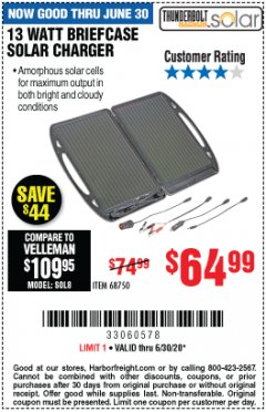 Harbor Freight Coupon 13 WATT BRIEFCASE SOLAR CHARGER Lot No. 68750 EXPIRES: 6/30/20 - $64.99