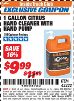 Harbor Freight ITC Coupon 1 GALLON CITRUS HAND CLEANER WITH HAND PUMP Lot No. 43222 Expired: 4/30/19 - $9.99