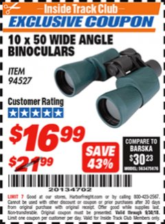 Harbor Freight ITC Coupon 10 X 50 WIDE ANGLE BINOCULARS Lot No. 94527 Expired: 9/30/18 - $16.99