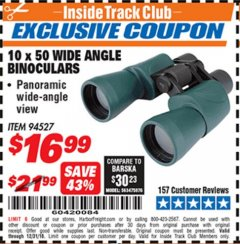 Harbor Freight ITC Coupon 10 X 50 WIDE ANGLE BINOCULARS Lot No. 94527 Expired: 12/31/18 - $16.99